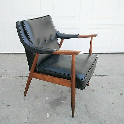 Vintage Mid Century Danish Modern Black Vinyl & Teak Wood Arm CHAIR Risom Style