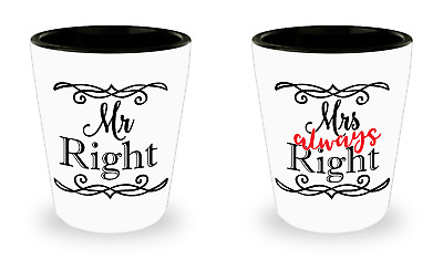 Mr. Right and Mrs. Always Right Set of 2 Shot Glasses Wedding Gift Bridal Shower