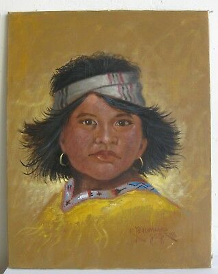 Vtg Navajo Indian Listed Artist Robert Yellowhair Girl Portrait Painting SIGNED
