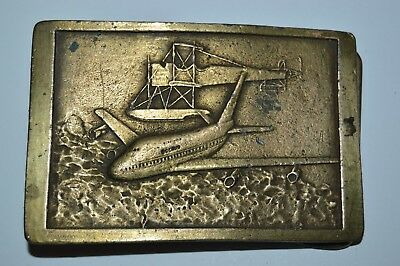 NICE Vintage Aged AIRPLANE Boeing Planes Brass Tone Belt Buckle RARE