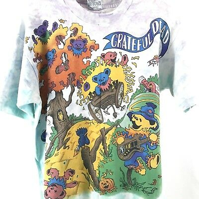 Grateful Dead Rise and Fall Tour Tee Shirt Size L Vintage 90s Tie Died Bears