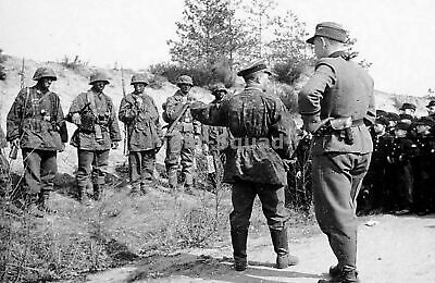 WW2 Picture Photo 1944 Youth members meeting soldiers German Panzer Divisio 2398