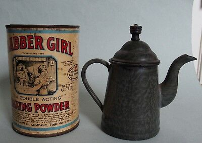 "Nos, Full ""glabber Girl"" Baking Powder & Small Graniteware Pitcher With Lid Exc;"