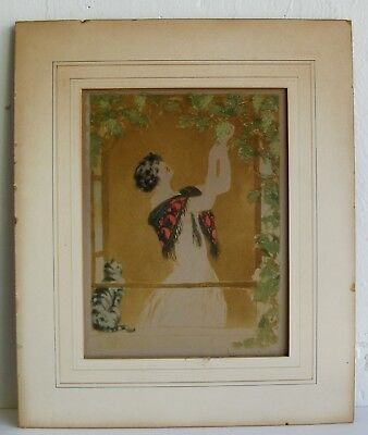 Vtg Art Deco French Listed Artist Louis Icart Woman Cat & Grapes Etching SIGNED
