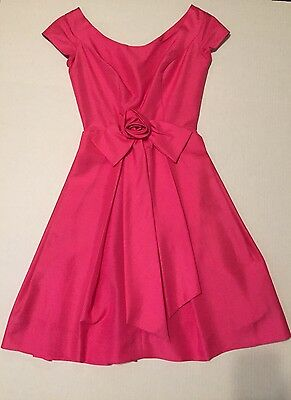Vintage Rare Hot Pink 1950's Raw Silk Dress Size 7 / Small Jane Andre California