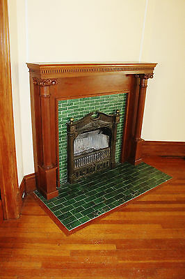 Antique Pumpkin Pine Wood Mantel Corinthian Columns Fireplace Nice!