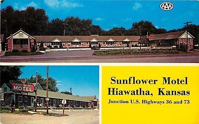 Hiawatha Kansas~AAA Sunflower Motel on Hwys 36 & 73~1965 Postcard