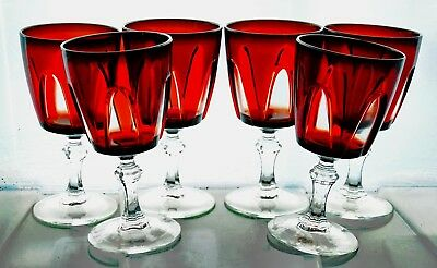 6 French Cristal d'Arques Ruby Red Cut to Clear GOTHIC PANEL Wine Glass Goblets