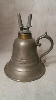 Vintage Antique 19th C. 1850's Morey & Ober Pewter Whale Oil Camphene Fluid Lamp