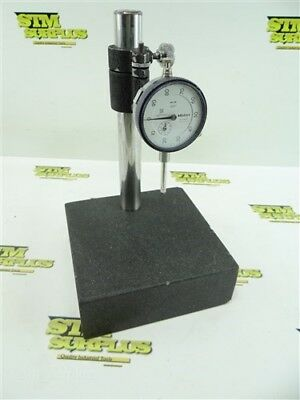"Mitutoyo No. 2904S Dial Indicator .001"" Grads + Granite Base Inspection Stand"