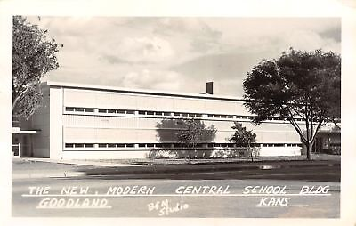 Goodland KS New Art Deco Modern Central School~Leisure Life Isn't Hard RPPC 1951