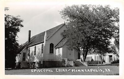 Minneapolis KS Episcopal Church~Shade Tree Close By~School or Office~RPPC c1950