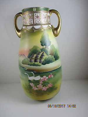 Rare Vintage Nippon hand painted Vase Jug with Swans and water lillies REDUCED