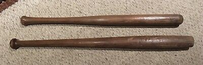 "2 Antique 19th Or Early 20th Century Baseball Bats 33 1/2"" & 30 1/2"""