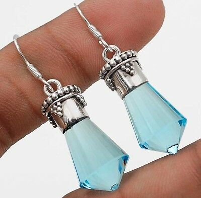 "22CT Aquamarine 925 Solid Sterling Silver Earrings Jewelry 1 2/3"" Long"