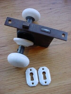 Antique White Porcelain Door Knob Set with Matching Escutcheons, Keyholes & Lock
