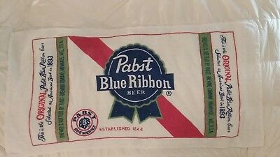 Vintage Pabst Blue Ribbon Beer Logo Emblem Terry Cloth Beach Towel Barware 1970S