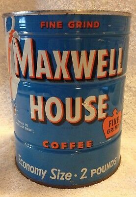 Rare Vintage Maxwell House Coffee Tin Can With Key Unopened Two Pounds Fine Grin