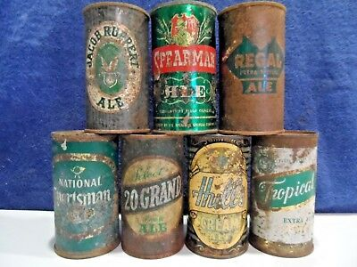 """Lot of 7 tough flat top ALE beer cans.incl.Sportsman,Ruppert,Spearman, """"empty'"""