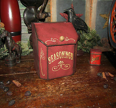 Primitive Antique Vtg Style Red Spice Metal SEASONINGS Bin Holder Tin Gift Idea