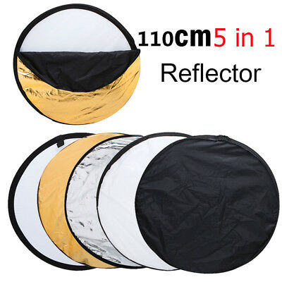 """110cm 43"""" 5in1 Photography Studio Light Mulit Collapsible disc Reflector Board"""