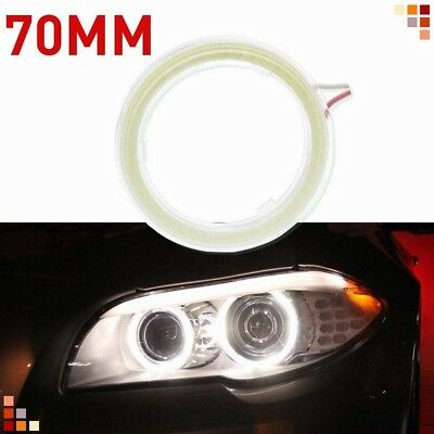2pcs 60mm/70mm Angel Eye Halo Ring LED COB Light DRL Light Bulb With Lampshades