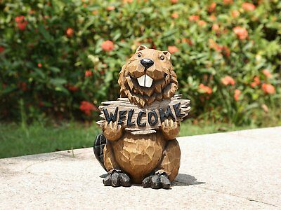Beaver Holding A Welcome Sign Adorable New Home or Garden Decor Statue Free Ship