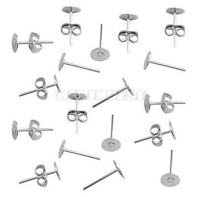 50 Silver Post Stud Needle Earring Flat Pad Findings 6mm With Scroll Backs Use