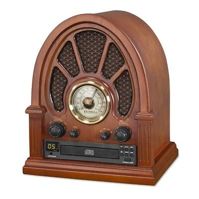Vintage Style Radio With Bluetooth Antique Rotary Analog Cd Player AM/FM Tuning