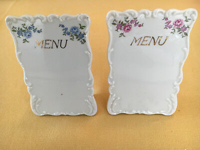 Vintage pair of porcelain menus in the french taste, blue and pink