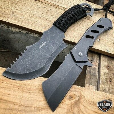 2 PC STONEWASH TACTICAL SURVIVAL FULL TANG FIXED BLADE + Cleaver Pocket Knife