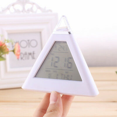 New 7 LED Changing Color Digital LCD Pyramid Alarm Desk Clock Time Thermometer