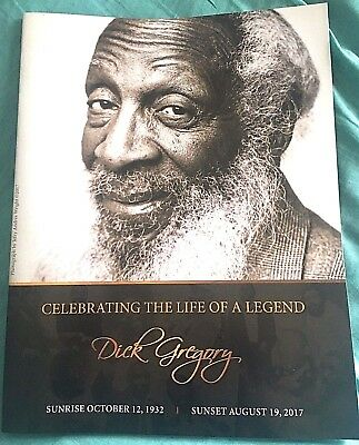 """Rare Dick Gregory Funeral Program """"Celebration Of Life""""  1932 - August 19th 2017"""