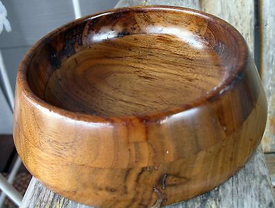 Vintage Artisan Wood Low Bowl Hand Crafted Mid Century Modern
