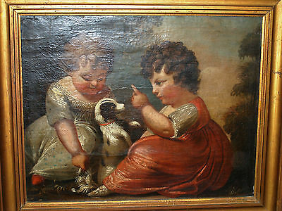 Rare Antique English Painting King Charles Spanial And Royal Children