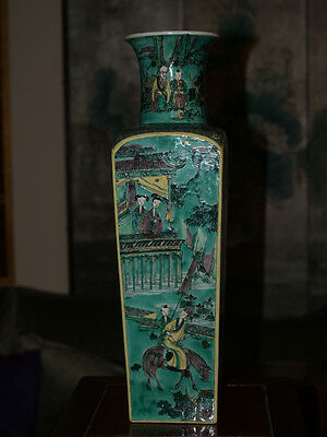 Rare And Unusual Antique Chinese Signed Kangxi Vase Famille Vert