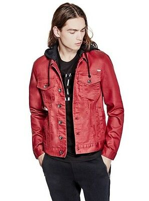 $70 G By Guess Men's Rakim Denim Havana Red Coated Jacket Removable Hood Size XS