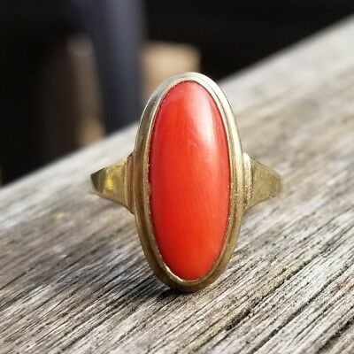Antique Art Deco 9K Gold Red Coral Ring 101217100