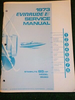 1973 OMC Evinrude Outboard Service Repair Shop Manual 85 HP Starflite 85393