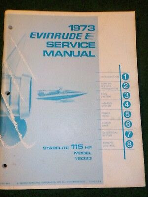 1973 OMC Evinrude Outboard Service Repair Shop Manual 115 HP Starflite 115393