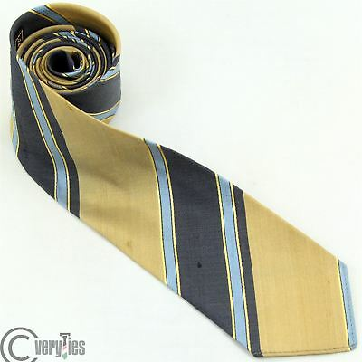 Cravatta Slim PURE SILK VINTAGE 50 Oro Righe 100% Seta Made in Italy Skinny Tie