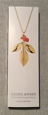 GEORG JENSEN 2016 CHRISTMAS ORNAMENT 2016 MAGNOLIA LEAF GOLD W/ Beads -New Boxed