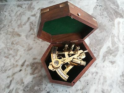 Antique Nautical Brass Sextant German Marine Sextant With Wooden Box