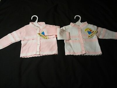 Baby Girls clothes Spanish Style cardigan  knitted White Pink 0 - 9 months