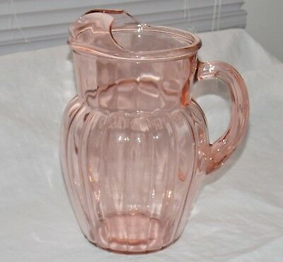 1937-1942 Anchor Hocking Depression Pillar optic Pink Ice Lip Pitcher
