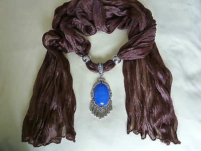 Jewellery - Large Natural Blue Agate Gemstone on a silky brown scarf - unique