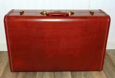 Vintage Authentic 1950's Samsonite Suitcase Luggage Brown leather like hardshell