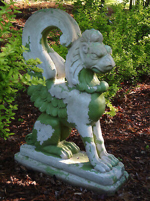 Antique Estate Garden Concrete Griffin Gargoyle Winged Lion Statue Lawn Ornament