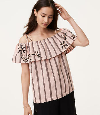 f89678ea30dab NWT Ann Taylor LOFT Pink embroidered orchid striped off the shoulder blouse