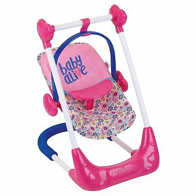 Baby Alive 3 in 1 Doll Play Set Car Seat High Chair Swing NEW